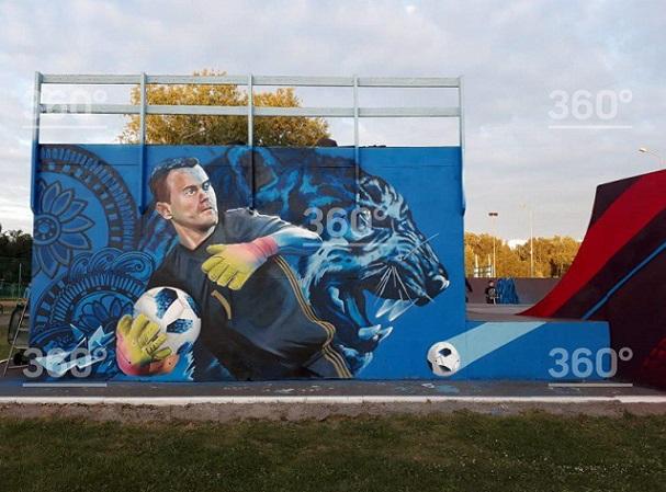 Подмосковный художник создал граффити вчесть выхода РФ в ¼ ЧМ-2018